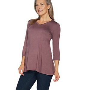 LOGO Layers by Lori Goldstein 3/4 sleeve top small